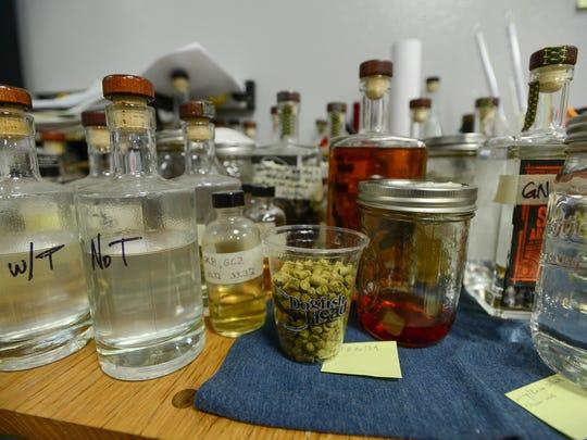 Dogfish Head's lead distiller Graham Hamblett's desk