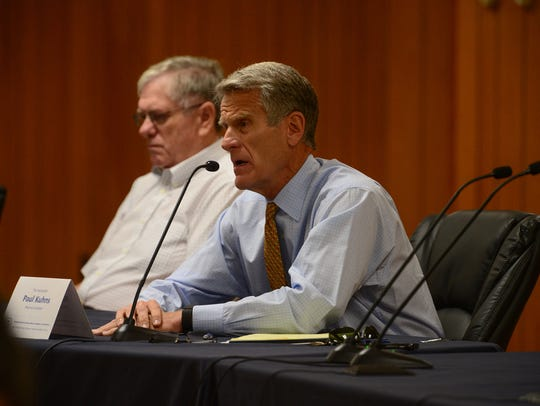 Mayoral Candidate Paul Kuhns answers questions during