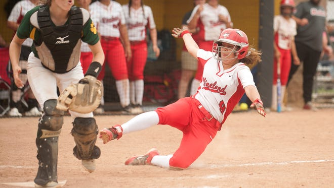 Vineland's Nicole Ortega scores during the 6th inning of the softball Group 4 state semifinal game between Vineland and Montgomery played at Rowan University in Glassboro on Thursday, May 31, 2018.  Vineland won, 8-5.