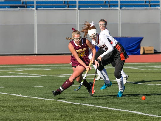Whitney Point graduate Elaina Burchell, left, scored her first college goal last weekend for the University at Albany.