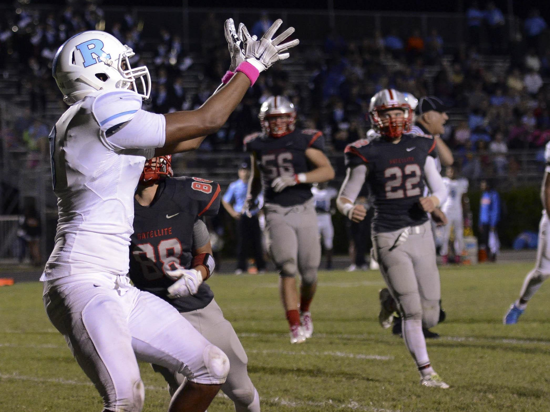 Rockledge's Kieran Goodrich catches a pass for the 2 point conversion during Friday's game against Satellite.