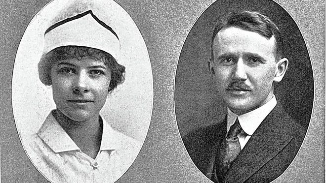"In 1924, Dr. Clayton Smith (right) was a member of the faculty of medicine at Ohio State University and was a professor of physiological chemistry. He also was the school physician for Grandview Heights High School. Marie McElwee (left) was the school nurse. A graduate of White Cross Hospital, McElwee performed various tests on the students' eyes, ears, noses and throats, gave physical examinations and made house calls on students who were ill. Smith prescribed the cases of a more serious nature. McElwee was a member of the staff of Grandview Heights High School, while Smith was the acting physician who aided McElwee in her work and gave his services free of charge. Their efforts were considered ""invaluable and most efficient in every detail"" according to the 1924 yearbook of the Grandview Heights High School."