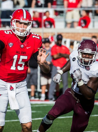 Ball State's Riley Neal makes a pass against Eastern Kentucky during their game at Scheumann Stadium Saturday, Sept. 17, 2016.
