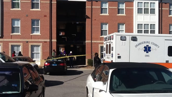 Emergency personnel were at the scene of a shooting Jan. 24, 2014, on the campus of South Carolina State University in Orangeburg, S.C.