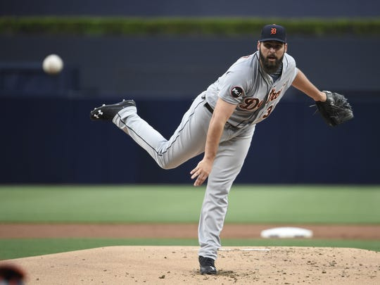 Tigers pitcher Michael Fulmer during the first inning of the Tigers' 1-0 loss Friday in San Diego.