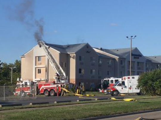 Zanesville Fire Department is evacuating the Fairfield Inn after receiving a call of smoke showing.