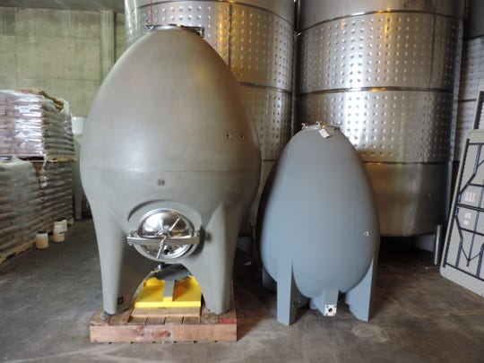 Seneca Lake-based Glenora Wine Cellars uses concrete eggs from California and France to ferment certain white wines. The absence of corners inside the tanks helps fermentation gases churn the wine, without assistance from the winemaker. Provided photo.