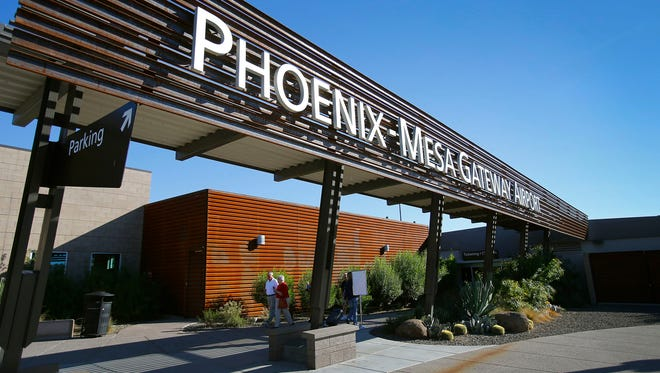 The entrance to Phoenix-Mesa Gateway Airport in Mesa is shown.