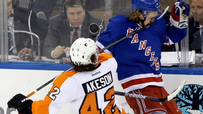 This high stick by the Flyers' Jason Akeson to the face of the Rangers' Carl Hagelin led to two power-play goals in Game 1.