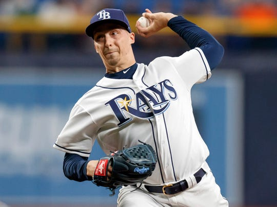 Tampa Bay Rays starting pitcher Blake Snell throws during the sixth inning of a baseball game against the Colorado Rockies Tuesday, April 2, 2019, in St. Petersburg, Fla. (AP Photo/Mike Carlson)