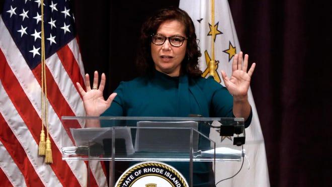 RI Education Commissioner Angélica Infante-Green at Governor Gina Raimondo's coronavirus update at Vets Auditorium on Monday afternoon.