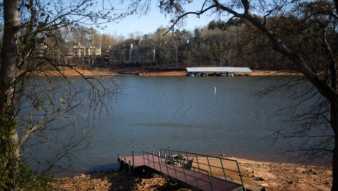 A dock sits on dry land at Lake Hartwell on Wednesday in Anderson. The Corps' shoreline management rules will be up for public review at three sites in South Carolina and Georgia next week.