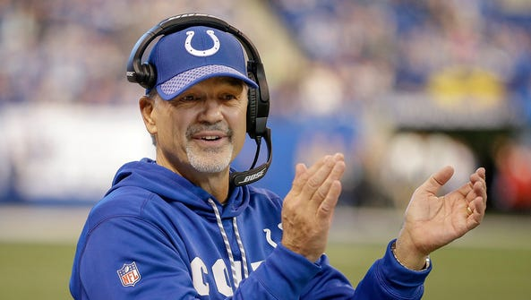 Indianapolis Colts head coach Chuck Pagano applauds