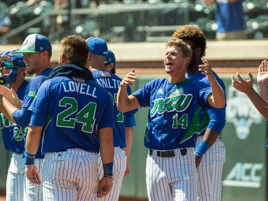 Florida Gulf Coast celebrates after a Nick Rivera home