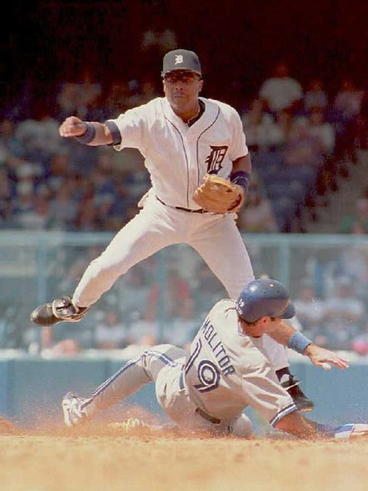 Detroit Tigers Lou Whitaker hurdles over Toronto B