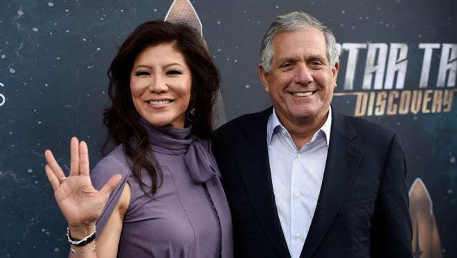 Les Moonves, right, chairman and CEO of CBS Corporation, poses with his wife, television personality Julie Chen, at the premiere of the new television series 'Star Trek: Discovery' on Sept. 19, 2017, in Los Angeles.