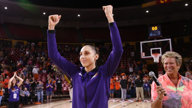 Phoenix Mercury Diana Taurasi celebrates their win over the Dallas Wings during the round one of the WNBA Playoffs on Aug. 21, 2018, at Wells Fargo Arena in Tempe, Ariz.
