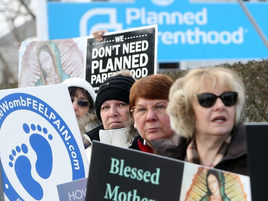 One of the hundreds De-Fund Planned Parenthood rallies nationally at the Morristown Health Center. February 11, 2017, Morristown, NJ.