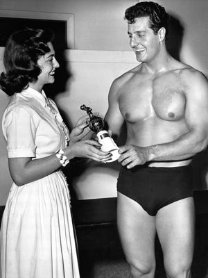 "July 19 1959: Peter Lupus wins the title ""Mr. Muscles of Indiana."""