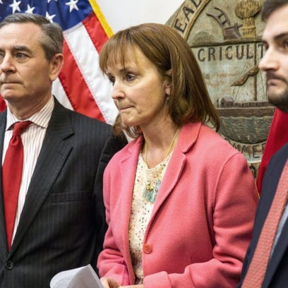Republican House Speaker Beth Harwell, center, holds a news conference about embattled Rep. Jeremy Durham, R-Franklin, on Monday, Jan. 25, 2016, in Nashville, Tenn. Harwell and Tennessee Republican Party Chairman Ryan Haynes, right, called on Durham to resign following reports that the lawmaker sent inappropriate text messages to women working at the Legislature. House Republican Caucus Chairman Glen Casada, left, looks on. (AP Photo/Erik Schelzig)