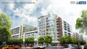 A rendering of the 334-unit, 9-story Park at Pulliam Square apartment building at 301 N. Pennsylvania St.