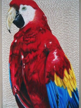 """Rochelle Township High School student Marlen Hueramo recently won the IL-16 Congressional Art Competition with her piece """"El Loro."""""""