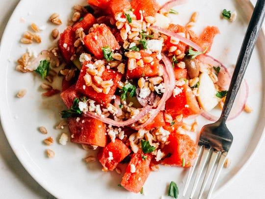 Watermelon and Farro Greek Salad