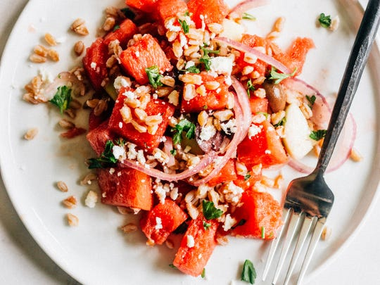 Watermelon and Farro Greek Salad