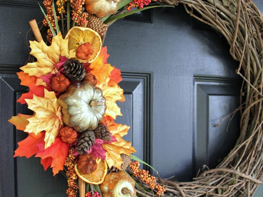 This wreath is full of fragrant materials that will welcome guests with the scent of fall spices.