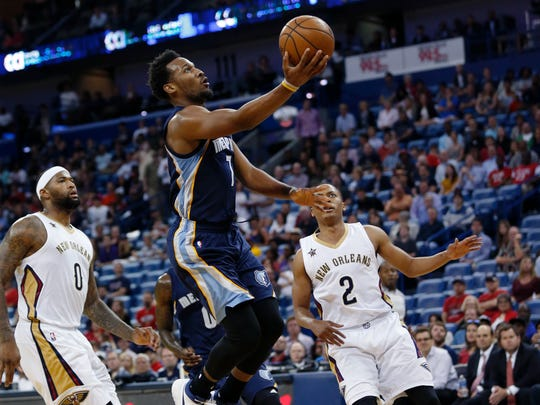 Memphis Grizzlies guard Wayne Selden (7) drives to