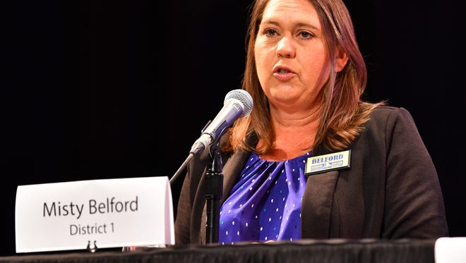 Misty Belford at a candidate forum. Belford won re-election to her District 1 School Board seat Tuesday night.