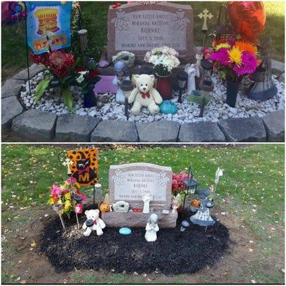 Stones around Miranda Bohnke's headstone at Webster