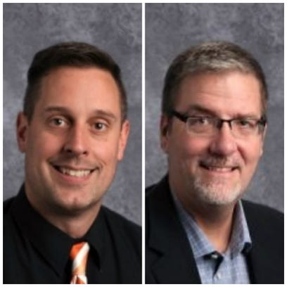 Mitch Kuhnert, left, and Bryan Stearns, the principal