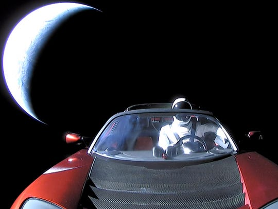 "The last photo of ""Starman"" in the Tesla Roadster on"
