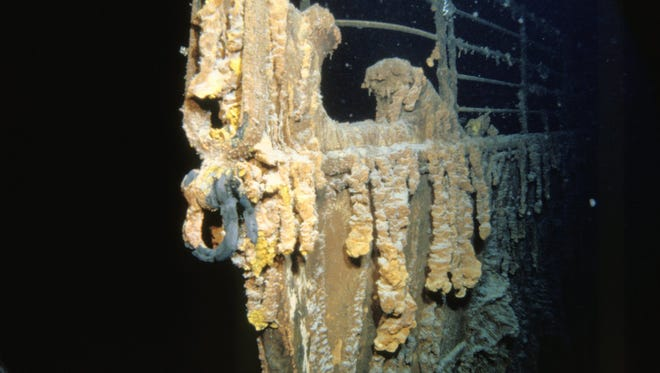The bow of the Titanic is seen underwater. There have been many larger, more deadly maritime disasters.