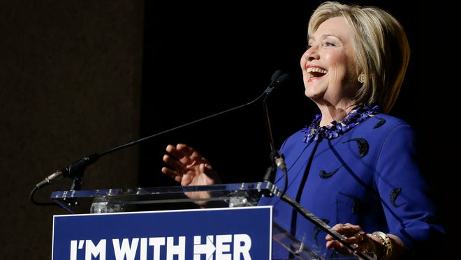 "Democratic presidential candidate Hillary Clinton speaks during the ""Hillary Victory Fund: I'm with Her"" benefit concert, Wednesday, March 2, 2016, in New York."