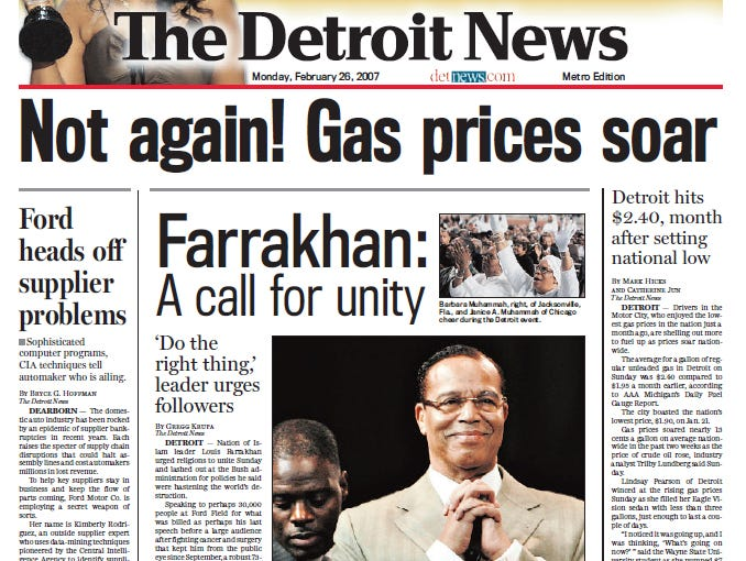 View the front page of The Detroit News each day of the week of February 26, 2007.