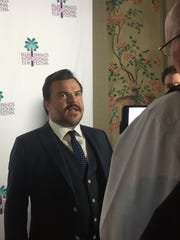 "Jack Black is interviewed on a red carpet Wednesday at the Camelot Theatres on the second day of the Palm Springs International Film Festival for a screening of ""The Polka King."""