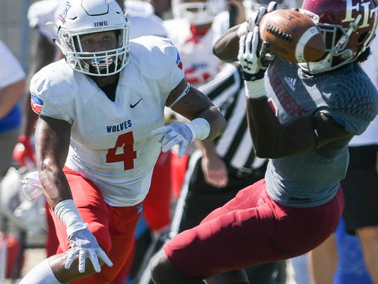 Florida Tech's Kevin Purlett is unable to come down