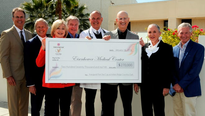 L to R: Hall Wade - GM/COO Indian Ridge Country Club, Michael Landes - President Eisenhower Health Foundation, Ruth Newman - Co-Chair Carnival Rio Celebration Dinner, Bruce McKenzie - President IRCC Board, Euthym Kontaxis, MD, Jerry Newman - Chairman 5-Star Cup Committee, Lois Friedland - Co-Chair Carnival Rio Celebration Dinner, Rod McDonald Co-Chair 5-Star Cup Golf Tournament