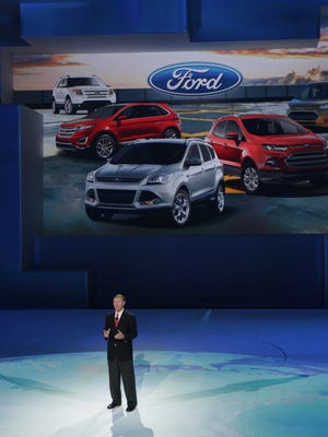 Alan Mulally speaks during the 2014 North American International Auto Show in Detroit on Jan. 13, 2014.