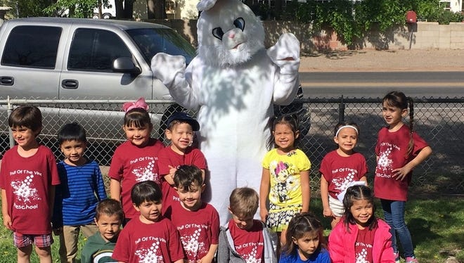 Students at the Fruit of the Vine Preschool were surprised by a special guest on Thursday at Nacio Herb Brown Park located at the corner of Eighth and Spruce streets. The Easter Bunny made a special visit for the students and handed out treats during a school picnic. FOTV teacher Maggie Armijo said the children were excited to see the Easter Bunny up close and personal.