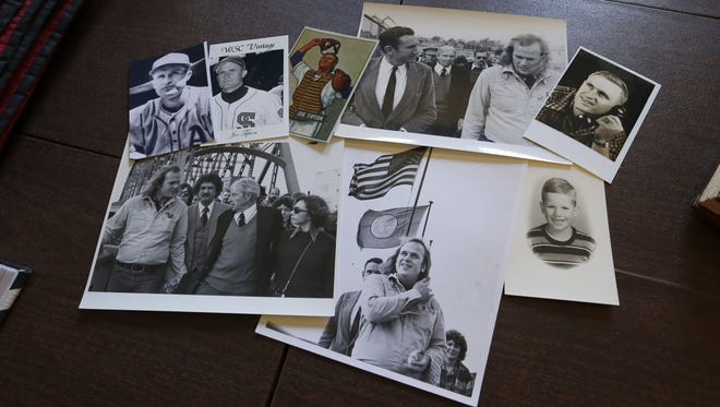 Pictures of Bruce Beyer mixed with shots of his biological dad, Joe Tipton, who was a World Series champion with the Cleveland Indians in the 1940s.