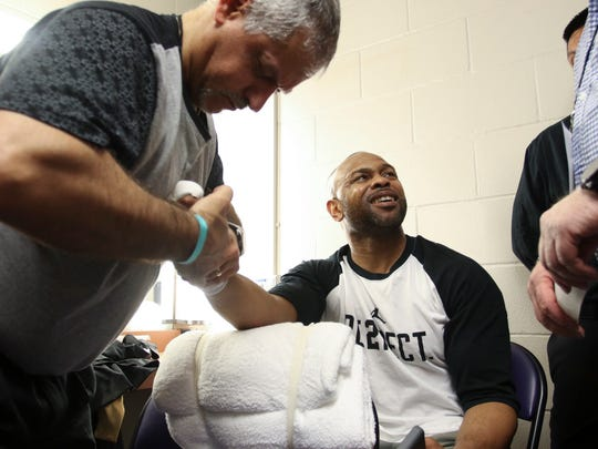 Roy Jones Jr. prepares for his final fight of his career at the Island Fights at the Pensacola Bay Center on Thursday, February 8, 2018.