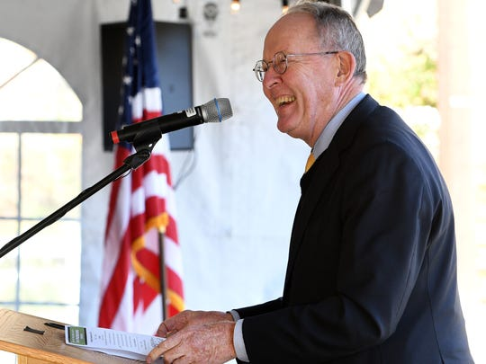 Senator Lamar Alexander speaking at the groundbreaking ceremony for the mercury treatment facility at Y-12 Monday, Nov. 20, 2017.