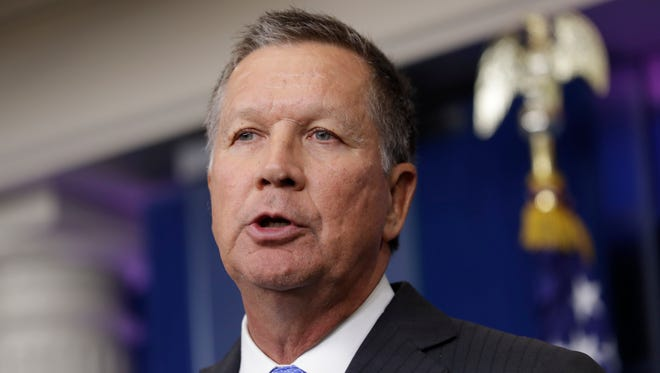 Ohio Gov. John Kasich speaks in Washington on Sept. 16, 2016.