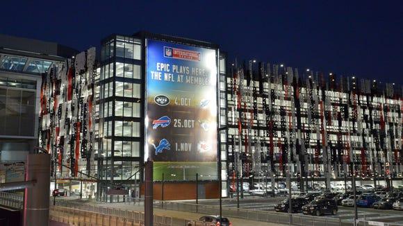 General view of billboard at Wembley Stadium promoting the NFL International Series in London.