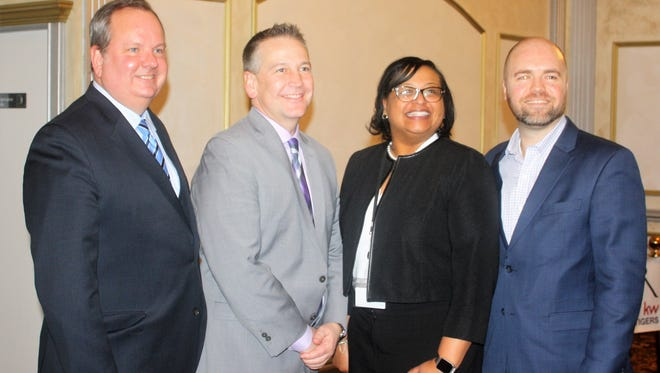 Pictured at the Plymouth area chamber luncheon are (from left) Kurt Heise (Plymouth Twp. Supervisor); Joe Barone (Wayne County Commissioner), Monica Merritt (Plymouth-Canton Community Schools superintendent); and Oliver Wolcott (Plymouth mayor).