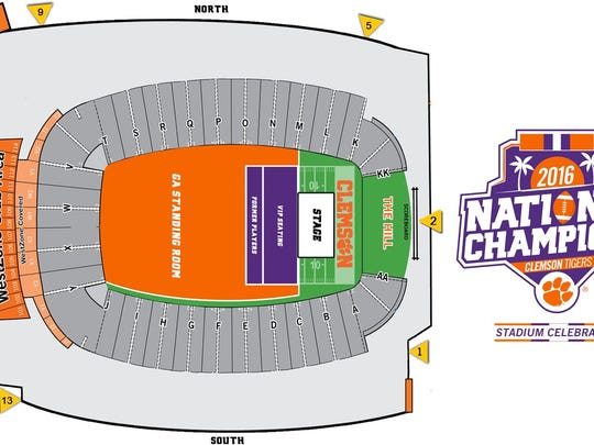 Seating plans for a 10:30 a.m. Saturday celebration of the Clemson football team.