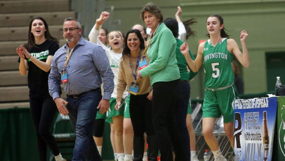 Irvington girls basketball head coach Gina Maher looks